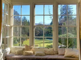 large window seat with Highland view
