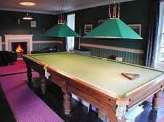 snooker table and games room