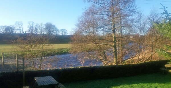 garden overlooking river in Galloway