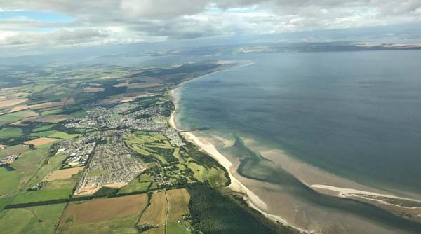 aerial view of coast and sandy beach at Hairn