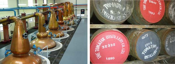 whisky casks and whisky still in Distillery